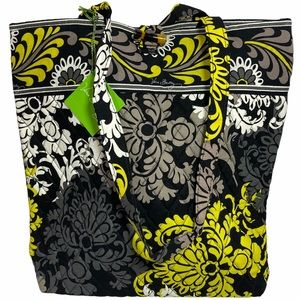 Vera Bradley BAROQUE Black Yellow Tote Bag NWT